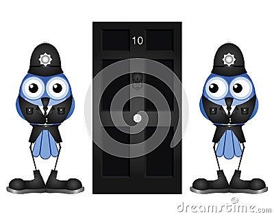 Policemen guarding