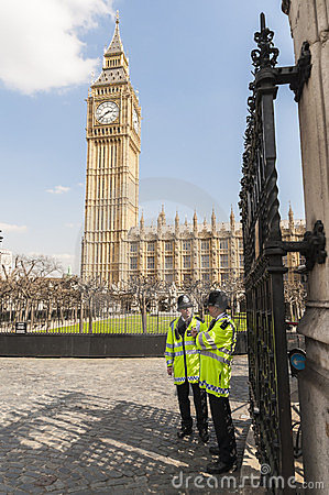 Policemen manning entrance to Houses of Parliament Editorial Photography