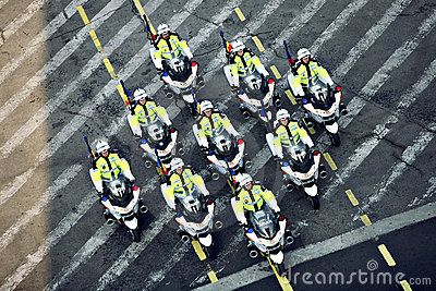 Policemen riding motorcycles Editorial Stock Photo