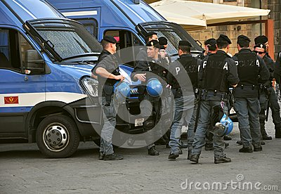 Policemen and their cars in Italy Editorial Image