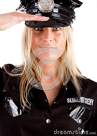 Policewoman is on duty