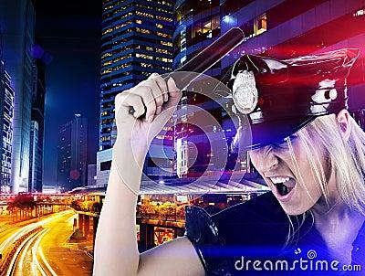 Policewoman on duty