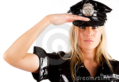 Policewoman is saluting