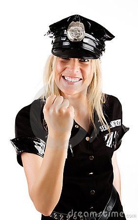 Policewoman showing a