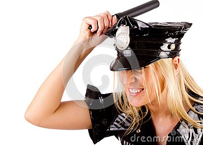 Policewoman is smashing with stick