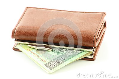 Polish banknote in wallet