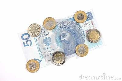 Polish currency 50 zloty and coins