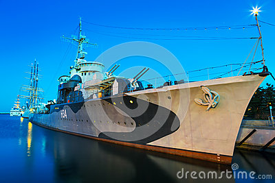 Polish destroyer at the Baltic Sea in Gdynia Editorial Stock Image