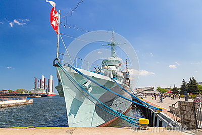 Polish destroyer ship at the Baltic Sea in Gdynia Editorial Photo