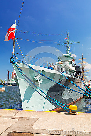 Polish destroyer ship at the Baltic Sea in Gdynia Editorial Stock Photo
