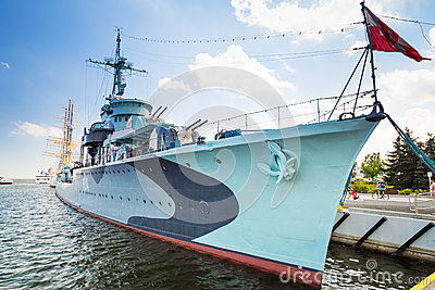 Polish destroyer ship at the Baltic Sea in Gdynia Editorial Photography