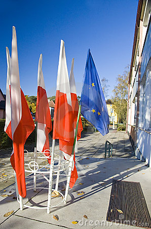 Polish and European Union flags Editorial Stock Photo