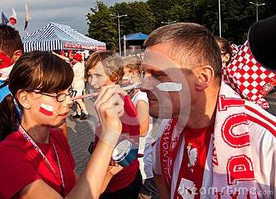 Polish fans before a sport event