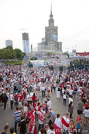 Polish fans at Warsaw streets Editorial Photo