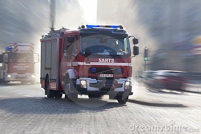 Polish Fire Service Emergency Vehicles Editorial Stock Photo