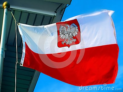 Polish flag / flag of Poland with crowned eagle