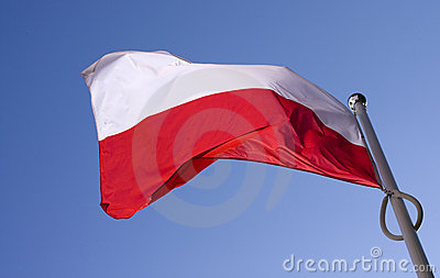 Polish flag flying on the wind