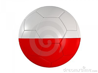 Polish flag on a football