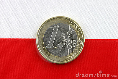 Polish flag with one Euro coin.