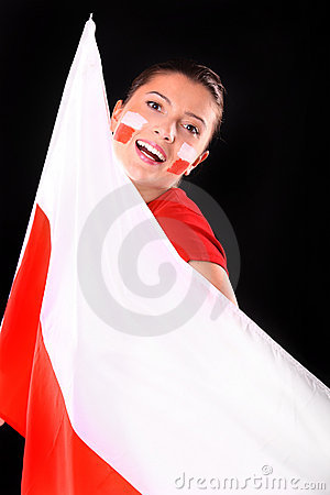 Polish flag & polish girl