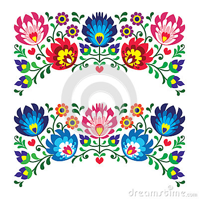 Free Polish Floral Folk Embroidery Patterns For Card Royalty Free Stock Photo - 31890175