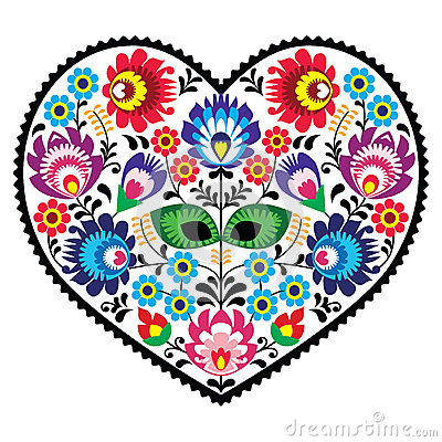 Free Polish Folk Art Art Heart Embroidery With Flowers - Wzory Lowickiee Stock Image - 41415581