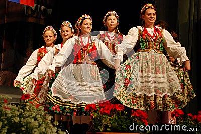 Polish folk dancers at a festival Editorial Image