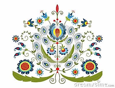 Polish folk with decorative floral