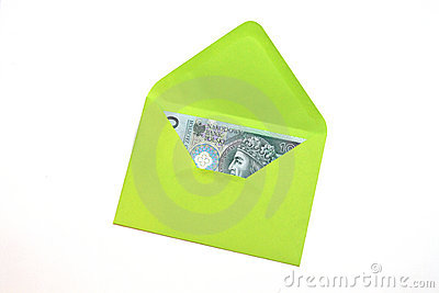 Polish Money in green envelope