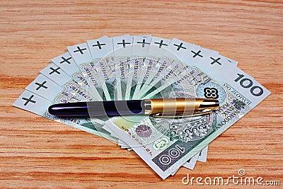 Polish money and pen