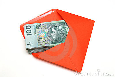 Polish Money in red envelope