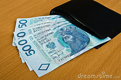 Polish money - zloty, banknotes and wallet