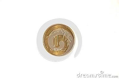 Polish one grosz coin