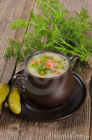 Polish pickled cucumbers soup