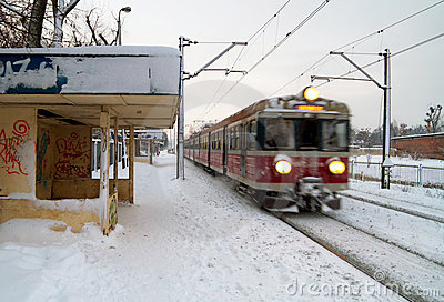 Polish train station at winter
