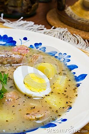 Polish Zurek soup (sour-rye soup)