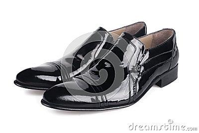 Polished black mens shoes