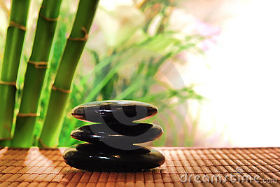Polished Stones Cairn for Relaxation in a Spa