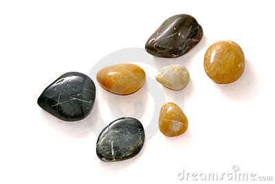 Polished stones on white