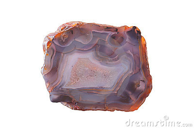 A polished, translucent slice of banded agate