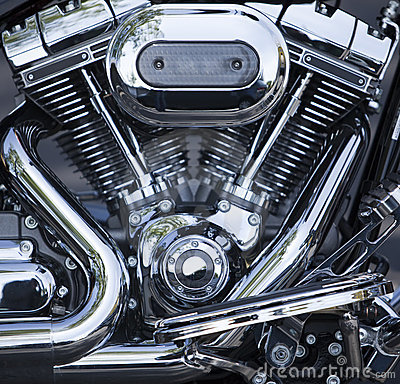 Polished V-Twin motorcycle motor