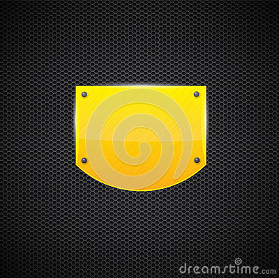 Polished yellow shield style metal plate