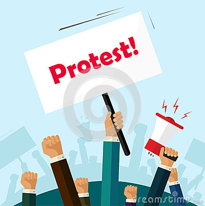 Free Politic Protest Signs Crowd Of People Protesters Revolution Placard Cartoon Stock Photos - 74098603