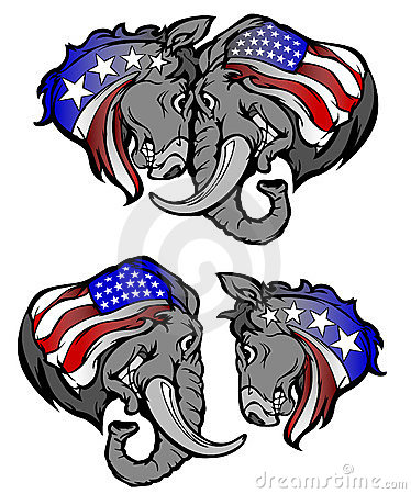 Political Elephant Republican vs Donkey Democrat