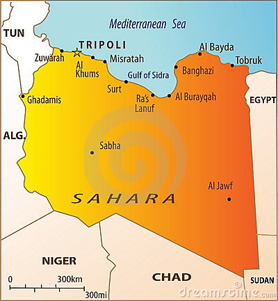 Political map of Libya