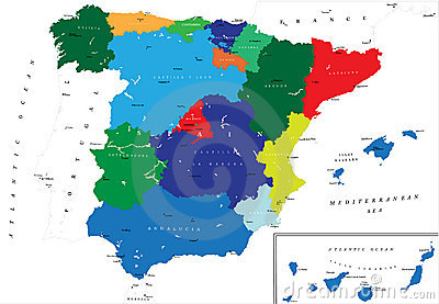 Political map of Spain