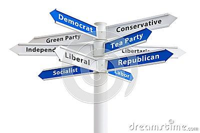 Political Parties Crossroads Sign
