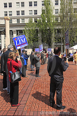 Political rally in Pioneer Square Portland OR. Editorial Photography