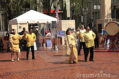 Political rally in Pioneer Square Portland OR. Editorial Stock Photo