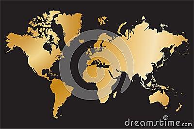 Political world map isolated on black background, vector illustration Vector Illustration